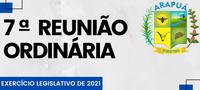 7ª REUNIÃO ORDINÁRIA – EXERCÍCIO LEGISLATIVO DE 2021